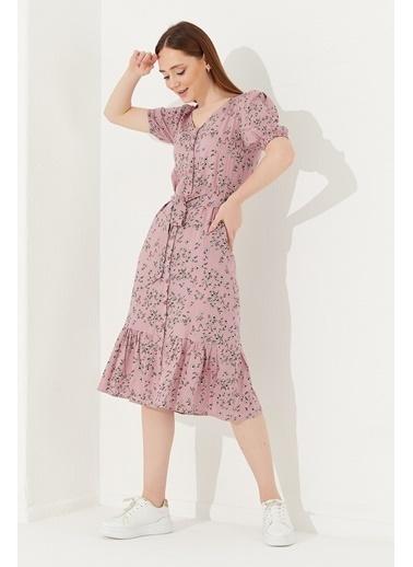 Reyon REYON Kadın Çiçek Baskılı Midi Elbise Pembe Pembe